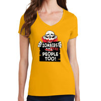 Zombies Were People - Ladies V-Neck T Thumbnail